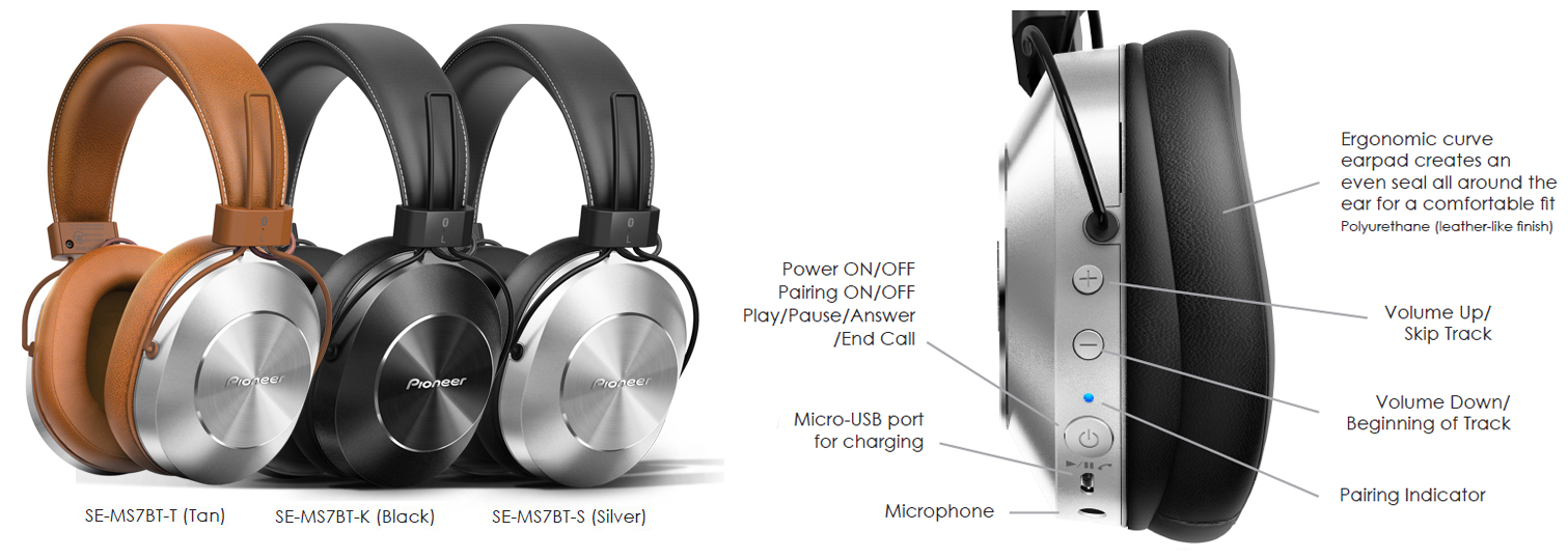 Pioneer SE-MS7BT Wireless/Wired Stereo Headphones